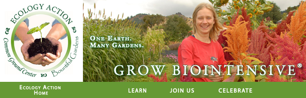 Ecology Action Logo, links to home page www.growbiointensive.org, learn, join us, celebrate, share this page