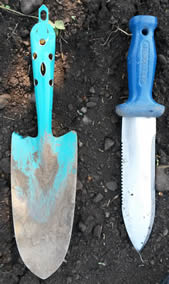 The wide angle trowel and the hori-hori or straight knife