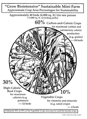 Special root crops combined with nutritionally diverse vegetables (and, of course, carbon crops) can provide a complete diet from a small area!