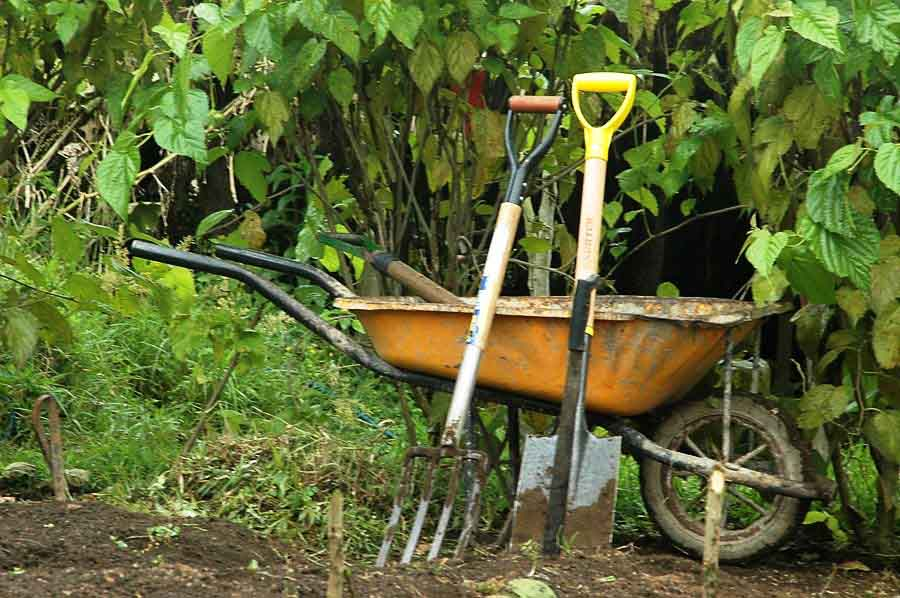 Tools and Wheelbarrow